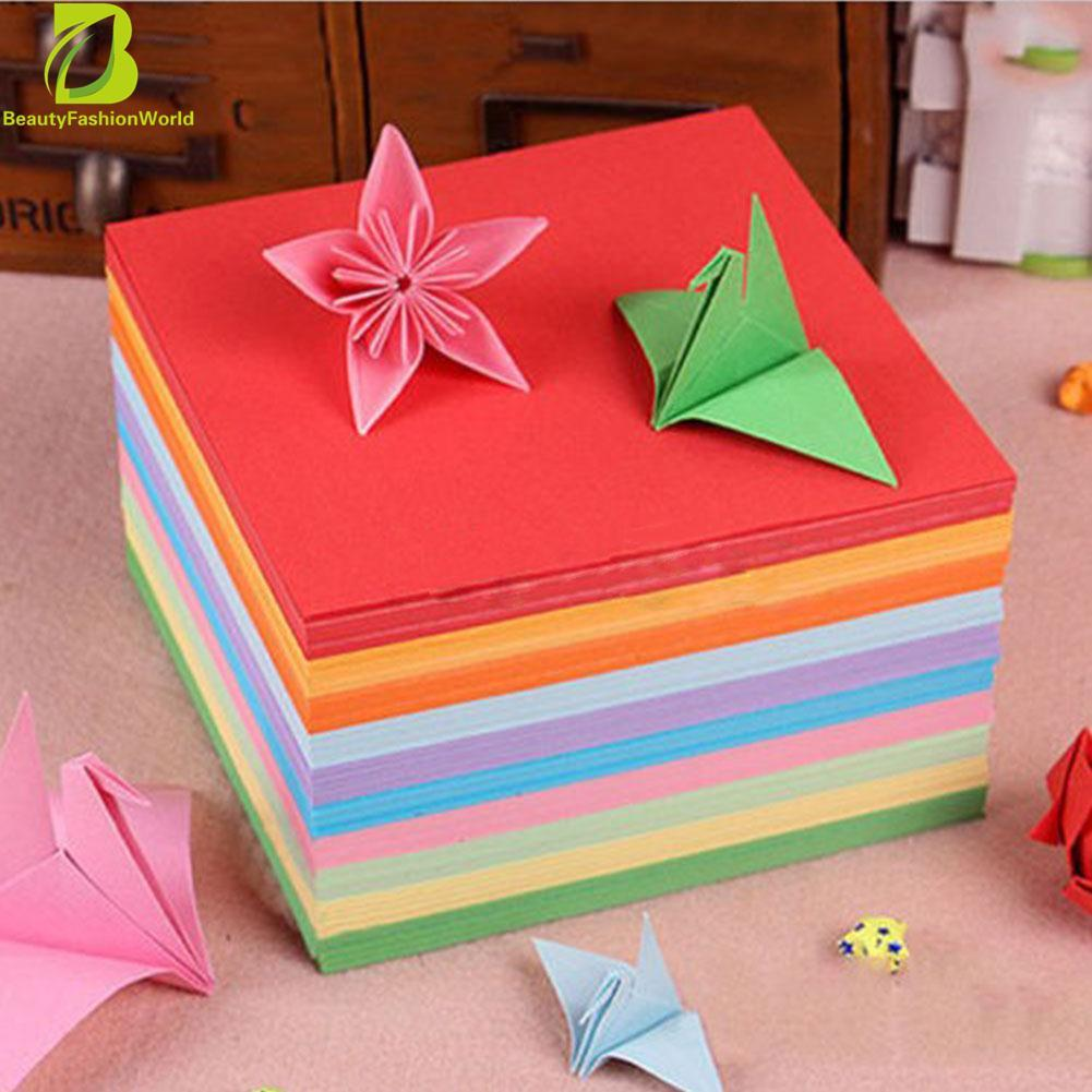 Mua 100 cái Origami Vuông Giấy Tay Hai Mặt Coloured Thêu Sò Mới 8 cm-quốc tế