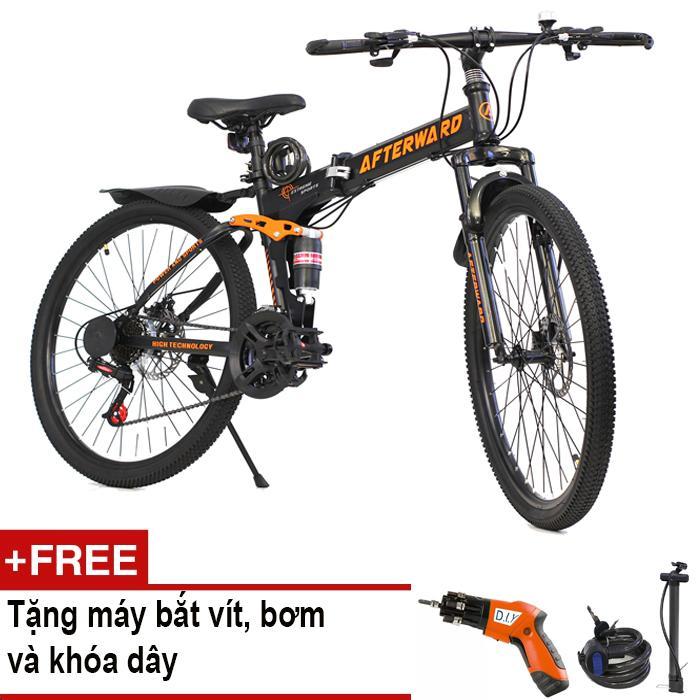 Xe đạp gấp địa hình AfterWard MK94 + Tặng máy bắt vít, bơm và khóa chống trộm