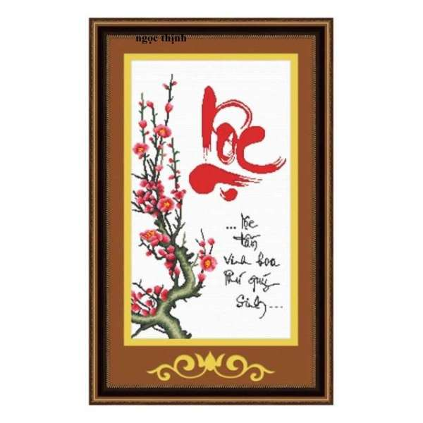 Tranh thêu chữ thập chữ Lộc Ailuo AL51260-Kíchthước: 40x70Cm