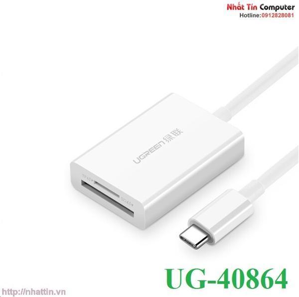 Đầu đọc thẻ USB Type-C cho thẻ nhớ TF/SD 4.0 Ugreen UG-40864 cao cấp