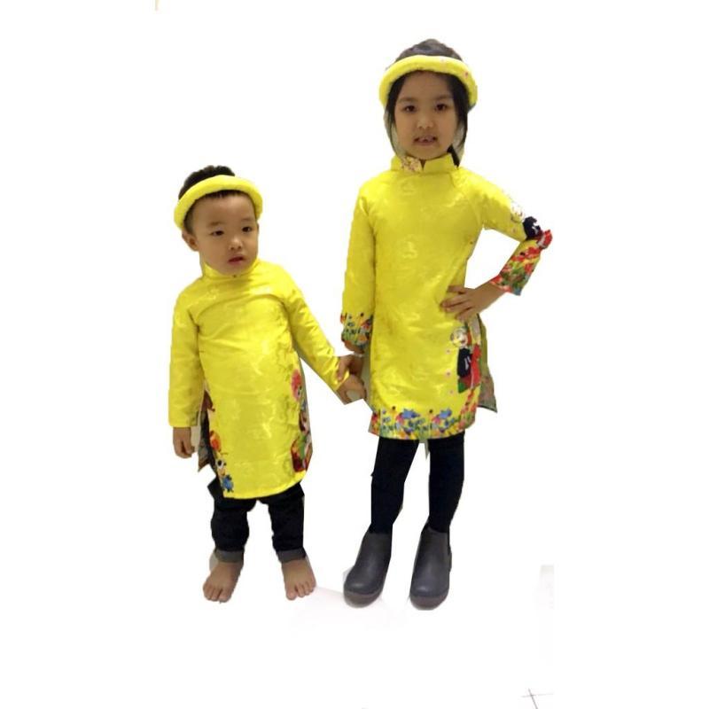 Nơi bán Set  áo dài cách tân vải gấm cho bé gái (8 - 24kg), vàng size 2 (hàng chất lượng cao)