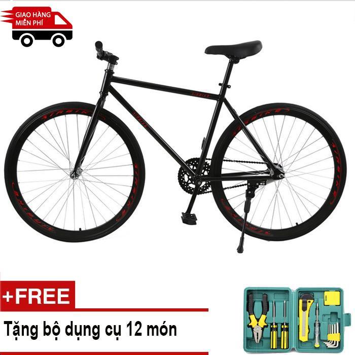 Mishio - Xe đạp Fixed Gear Air Bike MK78 (đen) + Tặng bộ dụng cụ 12 món