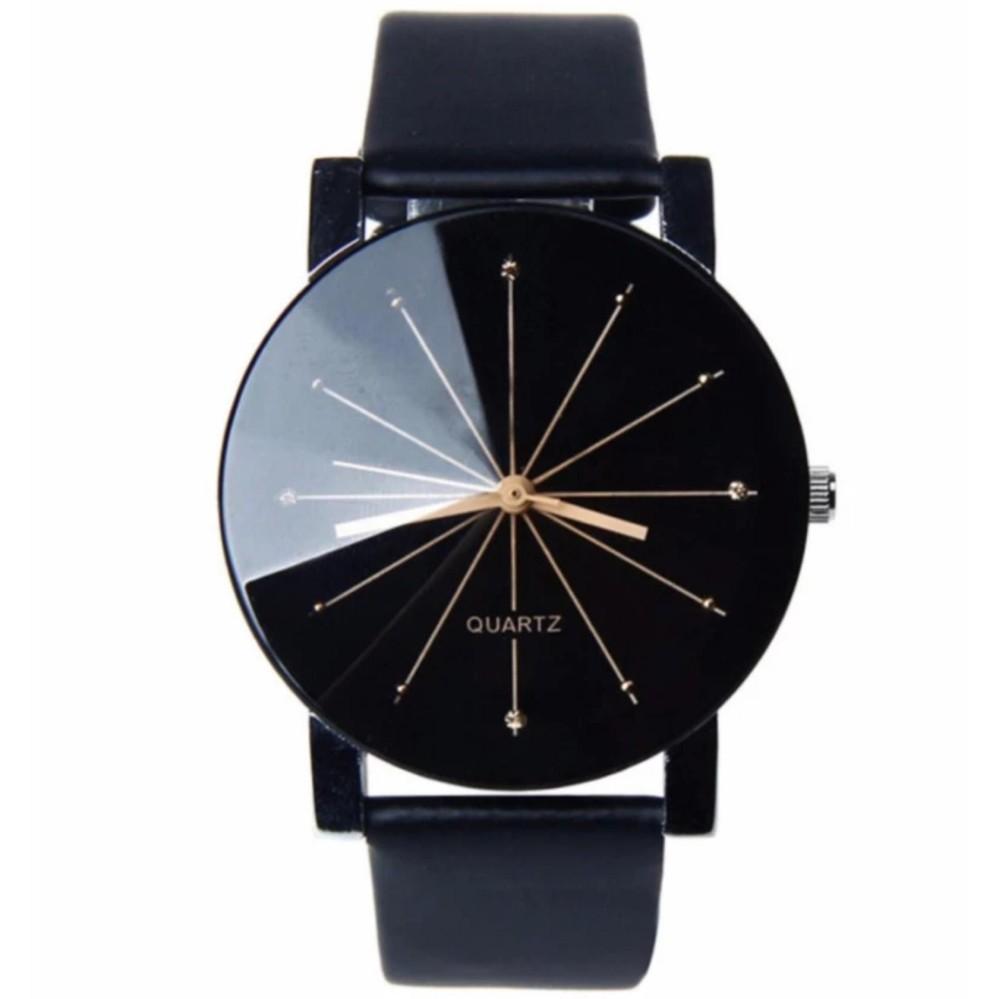 Hình ảnh Đồng hồ nam dây giả da kính chiếu 3D PA09 (Đen kim vàng)