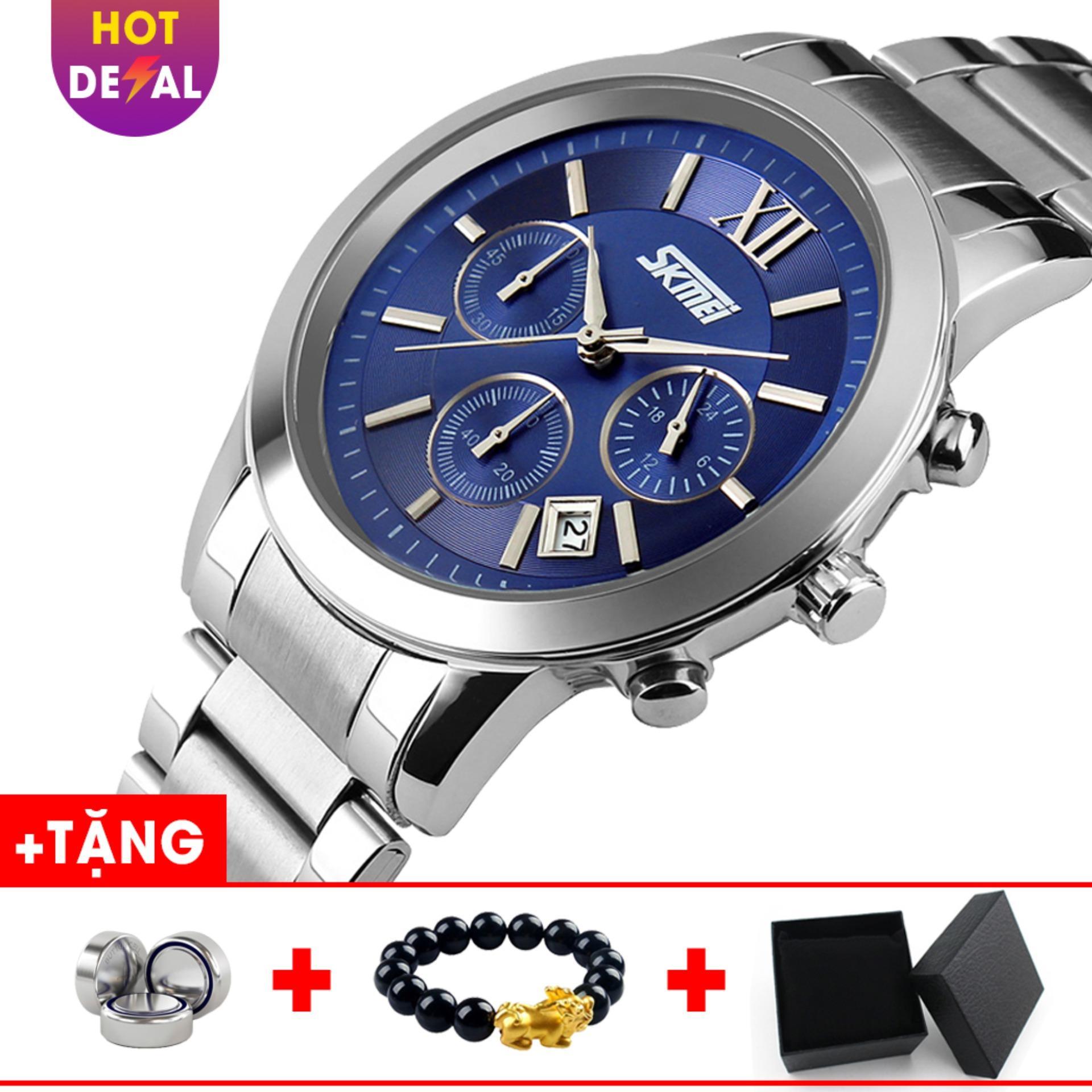 Đồng hồ nam dây thép không gỉ SKMEI SK001 - Boss Watches (Xanh) bán chạy