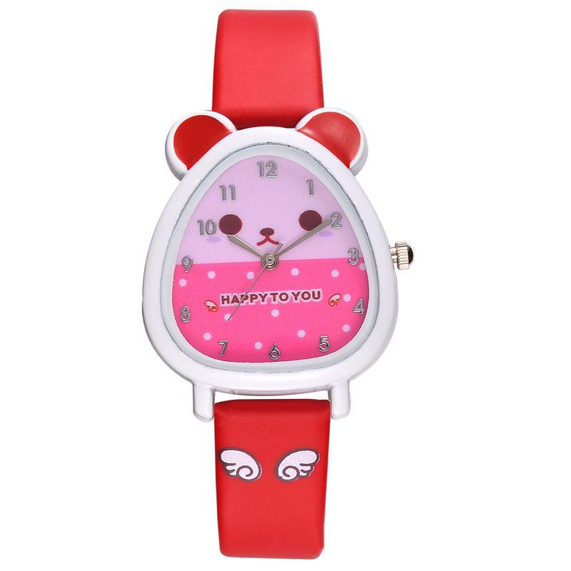 Giá bán B-F Hamster Shaped Dial Quartz Wrist Watch with PU Leather Strap Cute Cartoon Watches