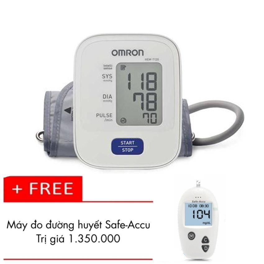 Hình ảnh Máy đo huyết áp bắp tay Omron Hem 7120 ( Trắng ) + Tặng Máy đo đường huyết Safe-Accu