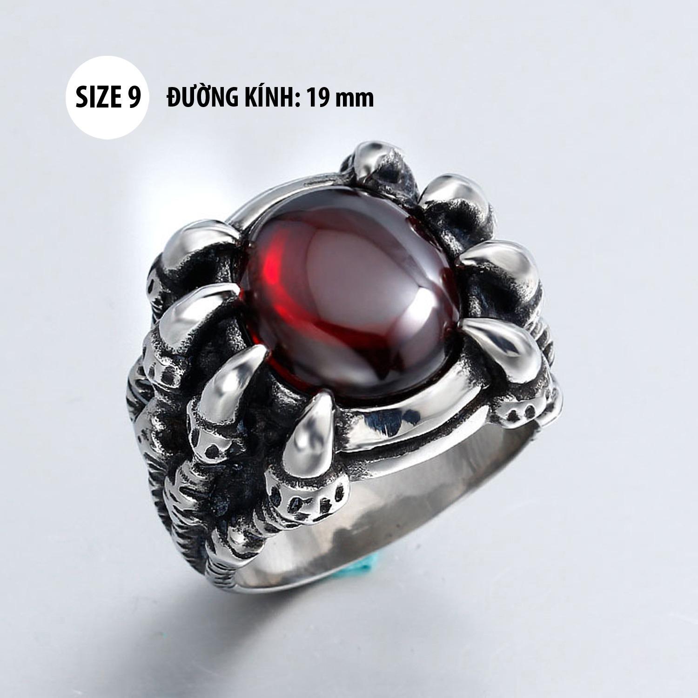 Ôn Tập Nhẫn Nam Thời Trang Bằng Titan Mong Rồng Đa Đỏ Sh01