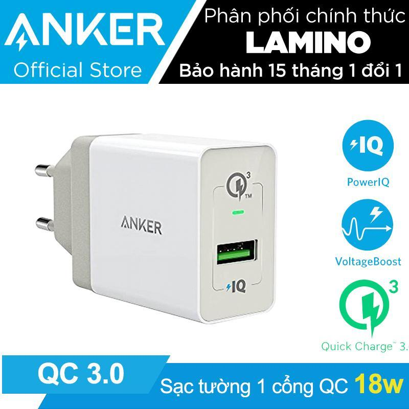 Giá Sạc ANKER PowerPort+ 1 cổng 18w Quick Charge 3.0 có PowerIQ (Trắng) – Hãng Phân Phối Chính Thức