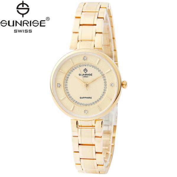 Đồng hồ nữ dây kim loại mặt kính sapphire chống xước Sunrise SL2128LK V