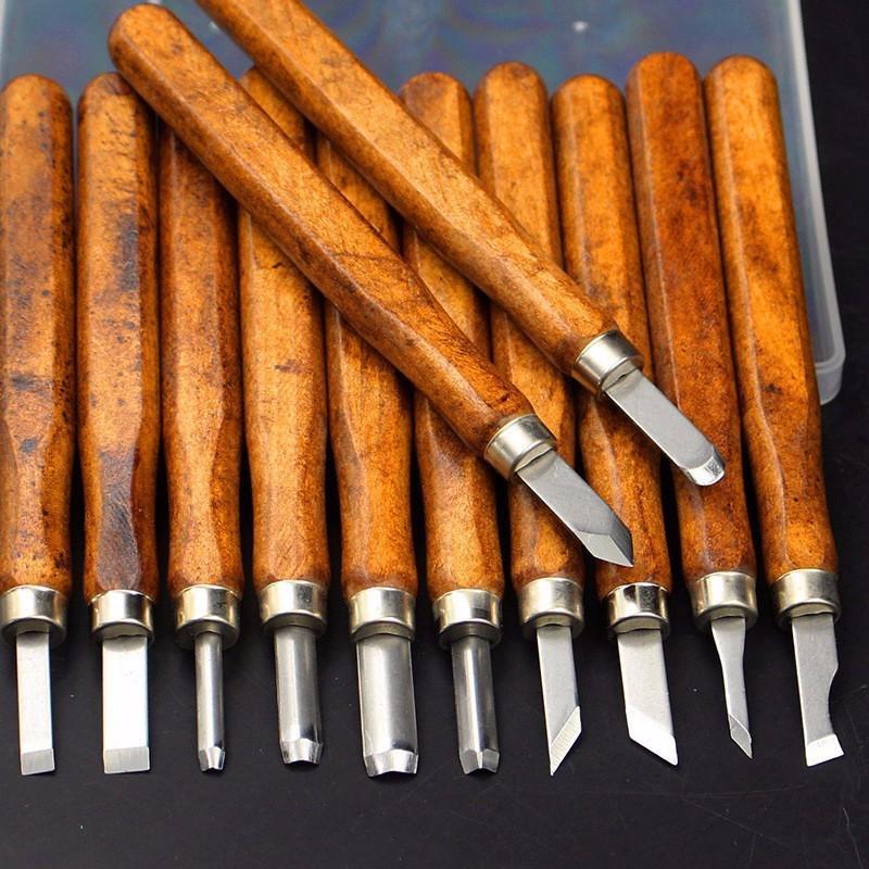 Bộ dụng cụ khắc, đục, tiện gỗ đa năng 12 trong 1