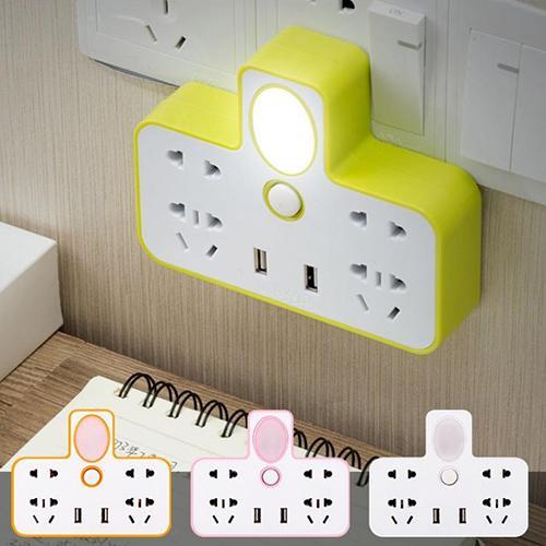 Ổ cắm điện 2 cổng USB có đèn ngủ (3 chấu)