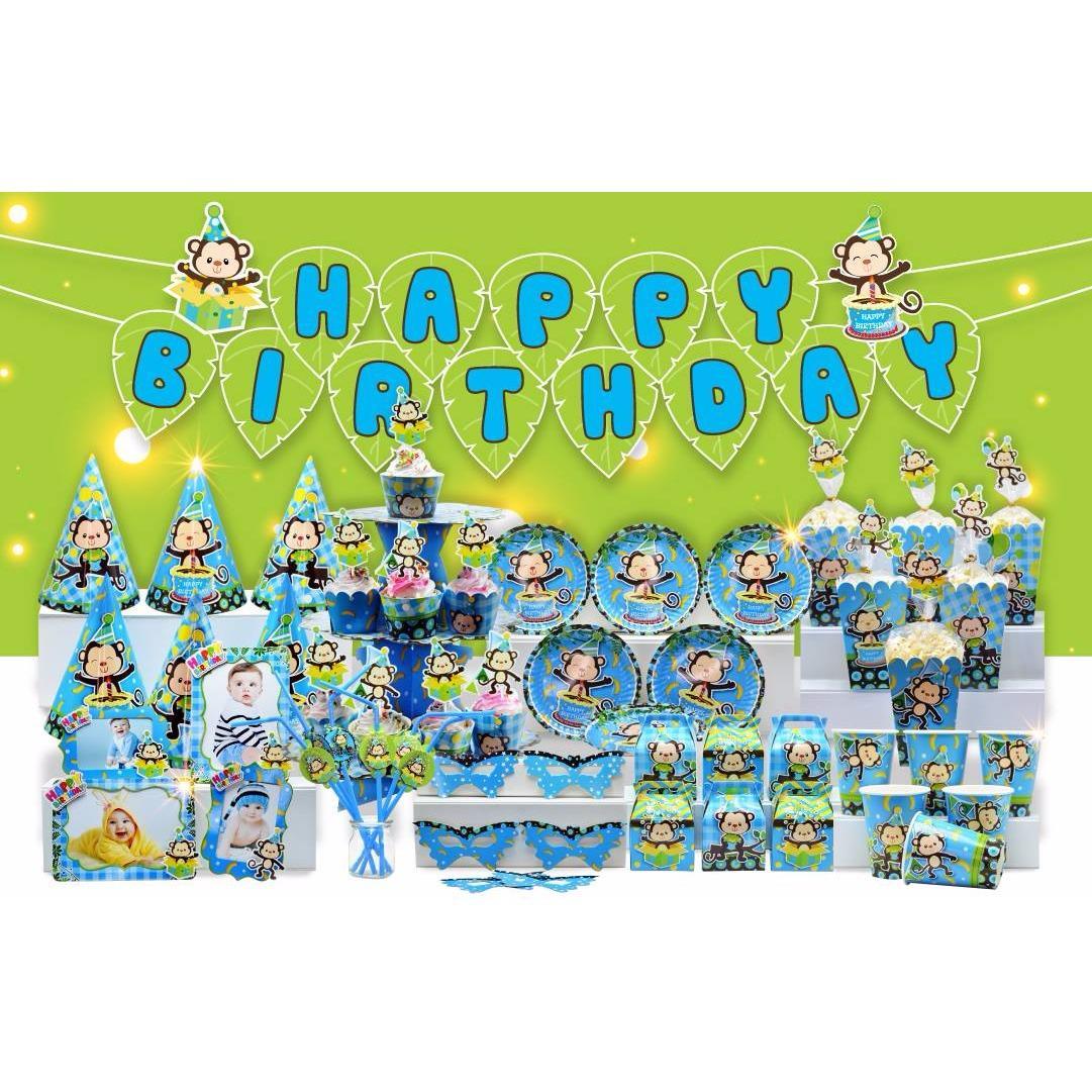 Hình ảnh set trang trí sinh nhật chủ đề khỉ xanh