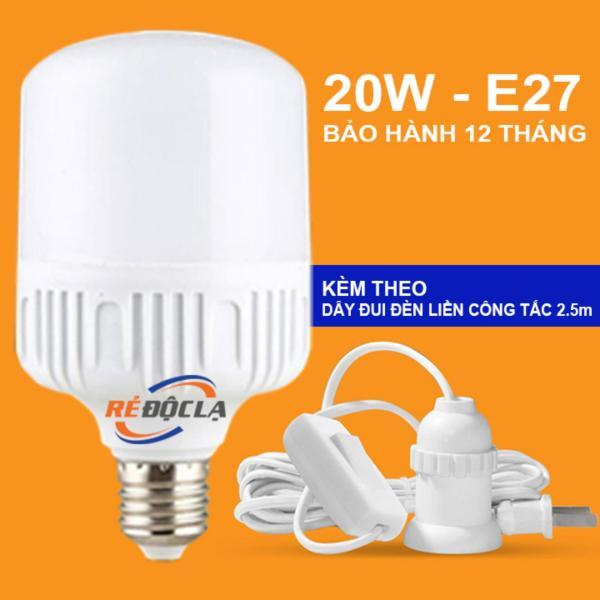 Bóng đèn Led trụ công suất 20W (Trắng) + Dây đui đèn liền công tắc 2.5m
