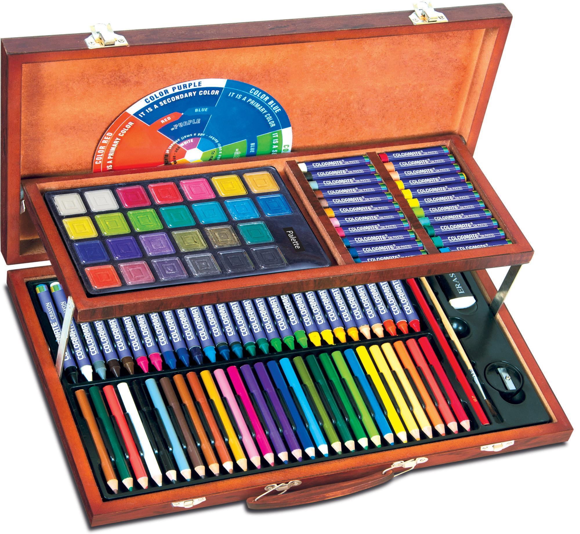 Bộ Màu Vẽ đa Năng Hộp Gỗ Colormate MS-111W Khuyến Mãi Sốc