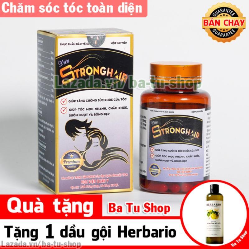 Viên uống mọc tóc, trị tóc bạc StrongHair tặng dầu gội bưởi & bồ kết Herbario nhập khẩu