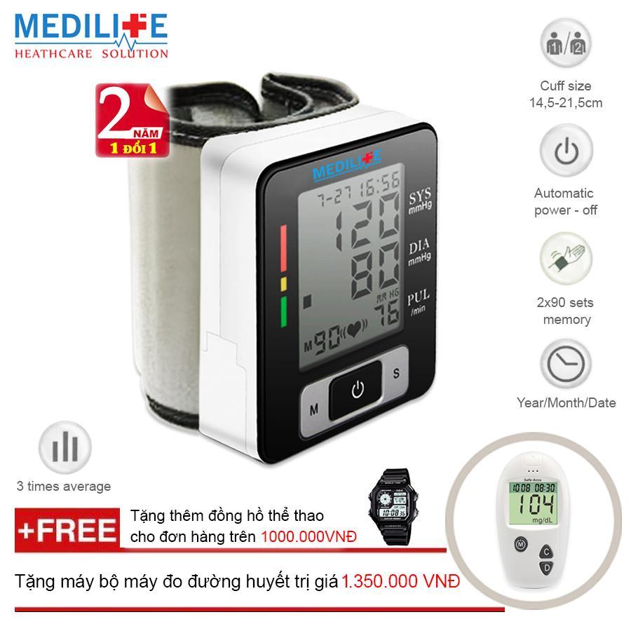 Máy Đo Huyết Áp Cổ Tay Tự Động Công nghệ Kỹ Thuật Số Medilife MBP - U60C + Tặng bộ máy đo đường huyết + Mua 2 sản phẩm cùng loại tặng thêm đồng hồ thể thao (OEM)