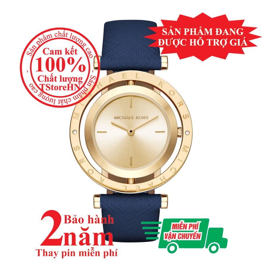 Nơi bán Đồng hồ nữ MK MK2526, Vỏ và Mặt đồng hồ màu Vàng (Gold), mặt xoay, size 33mm, Dây da màu xanh (Blue)- MK2526