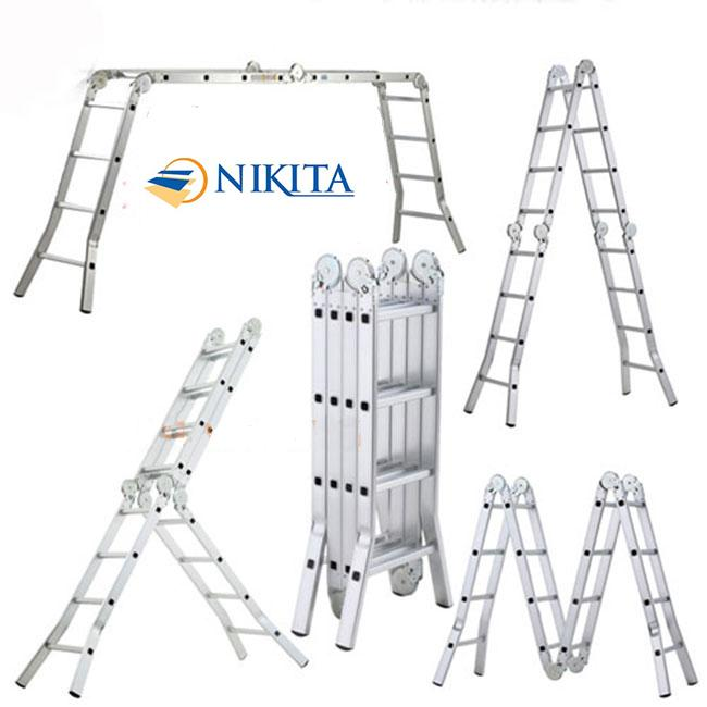Thang nhôm gấp 4 đa năng chân choãi  cao 4,7m Nikita Nhật Bản (GA47)