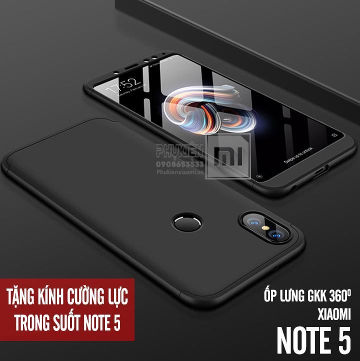 Hình ảnh [9 Mẫu] Ốp Lưng GKK 360 Độ (3 mảnh) dùng cho máy Xiaomi Redmi Note 5 Pro - Viền Màu, Full Màu