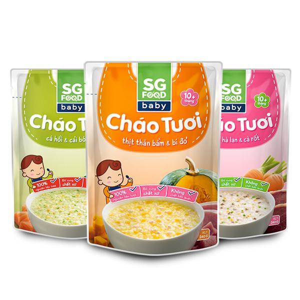 Combo Cháo tươi Baby Sài Gòn Food ( Cá hồi - Bò – Thịt Thăn Bằm) 240g x 3 gói