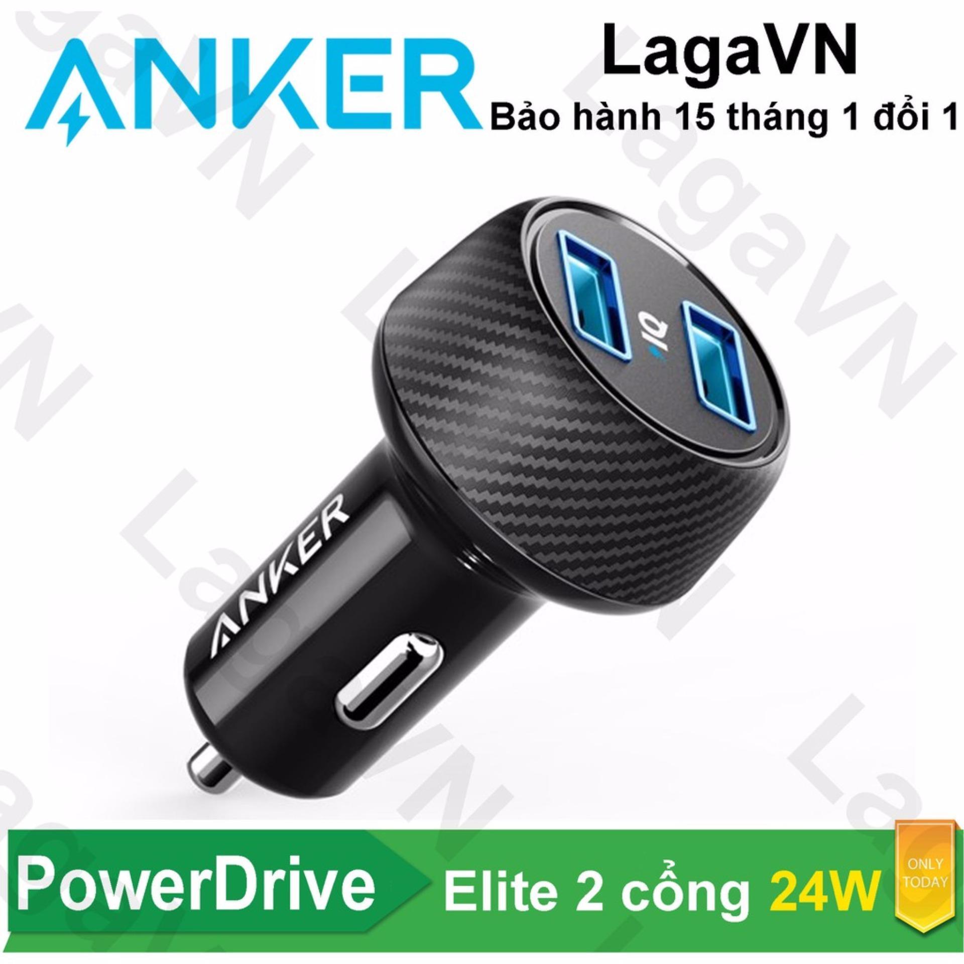 Hình ảnh Sạc Ô tô ANKER PowerDrive 2 cổng Elite 24w cho xe hơi - A2212 - Hãng phân phối chính thức