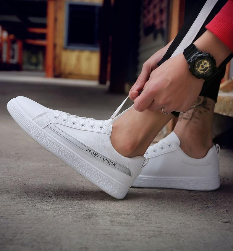 ✅ GIẦY SNEAKER DA Kẻ SPORT FASHION ( TRẮNG - XÁM ) - HOT TREND Giày thể thao/Giày nam phong cách Korea 2018, dễ kết hợp, mẫu mới nhất ( NEW ARRIVAL ) - MANTO SIMPLE LUXURY