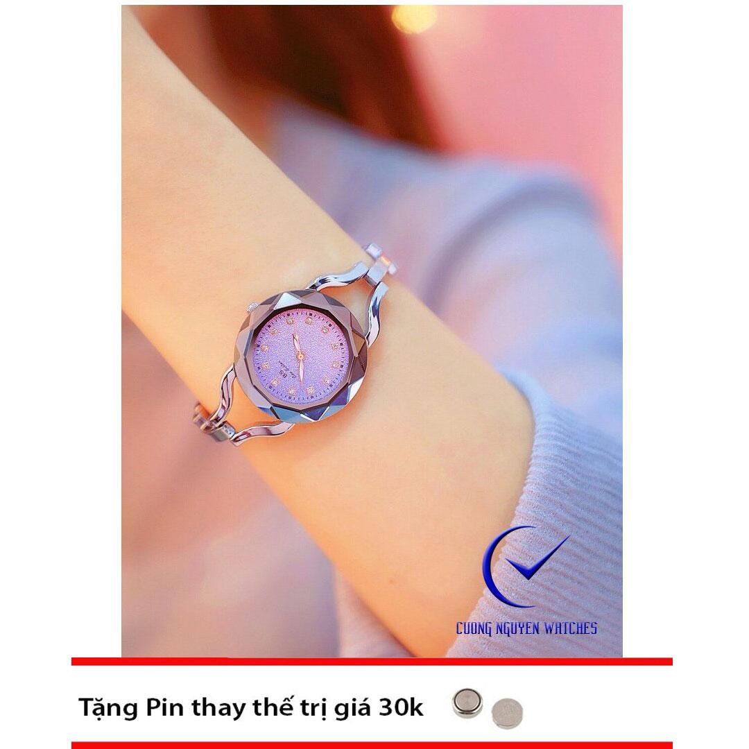 Hình ảnh Đồng hồ nữ Bee Sister mặt pha lê đính đá sáng lấp lánh - BS49 - Màu tím