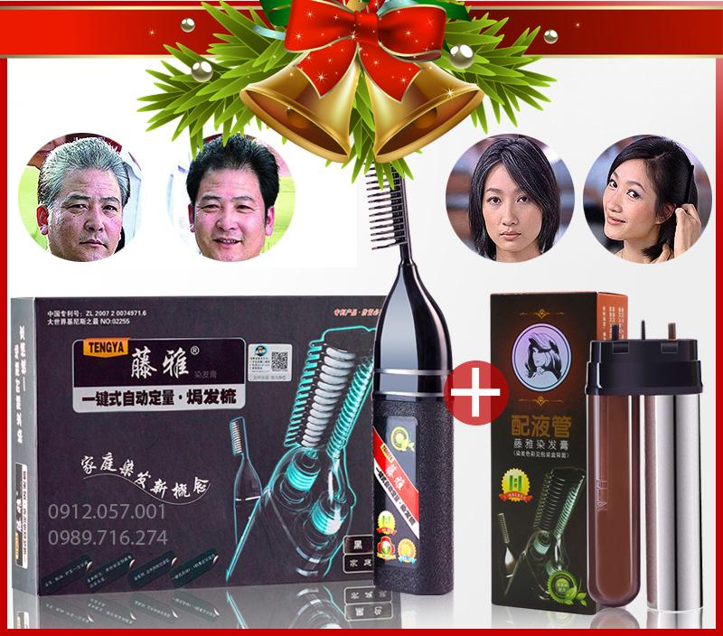 Lược nhuộm tóc thông minh Tengya thế hệ mới công nghệ hàn quốc nhuộm phủ tóc bạc tặng lõi thuốc thay thế (Đen, Nâu Trầm)