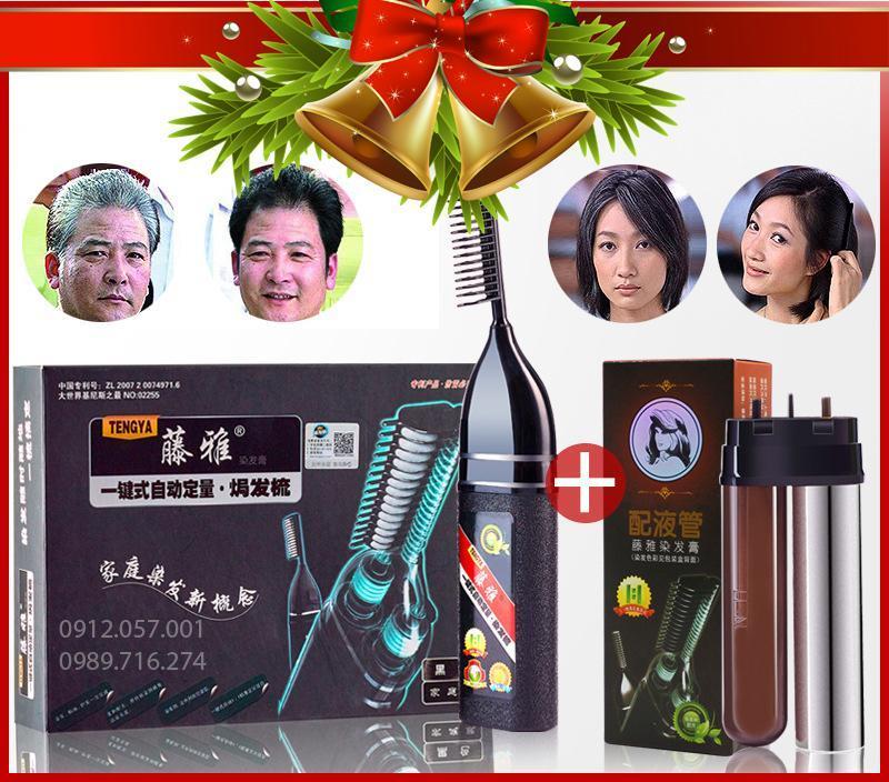 Lược nhuộm tóc thông minh tengya thế hệ mới công nghệ hàn quốc nhuộm phủ bạc tặng lõi thuốc thay thế (Đen, Nâu Trầm) cao cấp