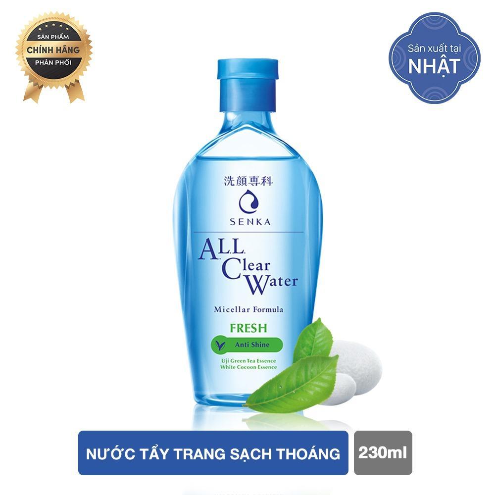Nước tẩy trang sạch sâu thoáng mịn giảm mụn, kiềm nhờn tươi mát với tinh chất trà xanh Uji tươi mát Senka A.L.L.Clear Water Fresh 230ml