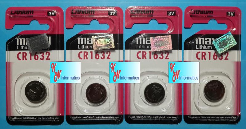4 vỉ Pin CR1632 Maxell - (1 vỉ có 1 viên) - Made in Japan.