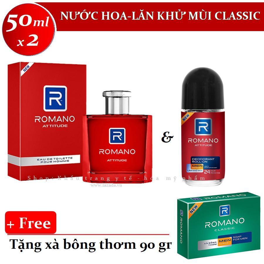 Romano - Bộ sản phẩm Nước hoa 50 ml + Lăn khử mùi 50 ml - Attitude ++ Tặng xà bông tắm 90 g