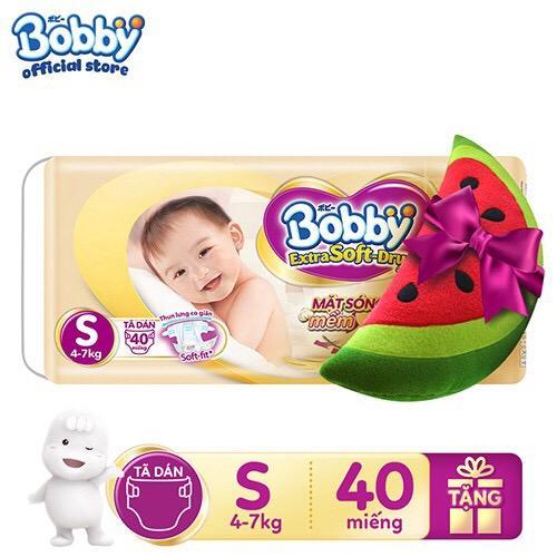 [Tặng kèm Gối Ôm Hoa Quả hình ngẫu nhiên] Tã Dán Bobby Extra Soft Dry  S40 - M34 - L30