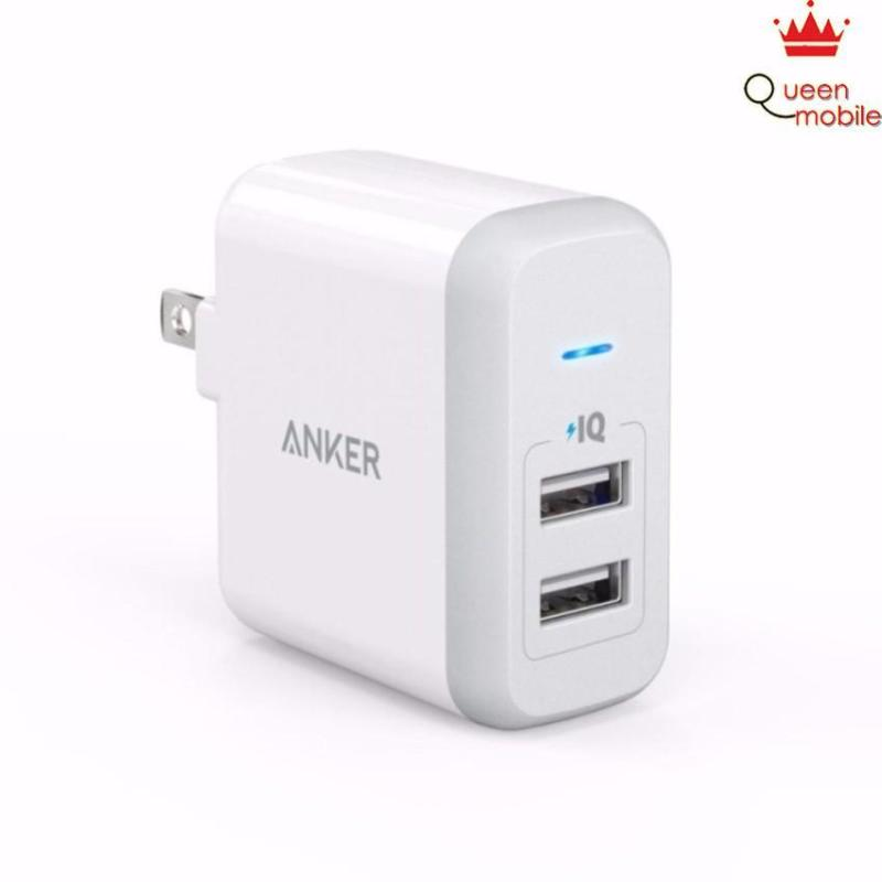 Sạc Anker 2 cổng PowerPort 24W 2-Port iPhone Charger (Trắng)