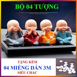 Bộ tượng chú tiểu bốn không (gồm 4 tượng) - Tặng kèm 4 tấm dán 3M hai mặt siêu chắc Tmark thumbnail