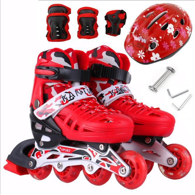 Giày trượt Patin trẻ em tặng mũ và đồ bảo hộ đỏ (5 đến 14 tuổi)