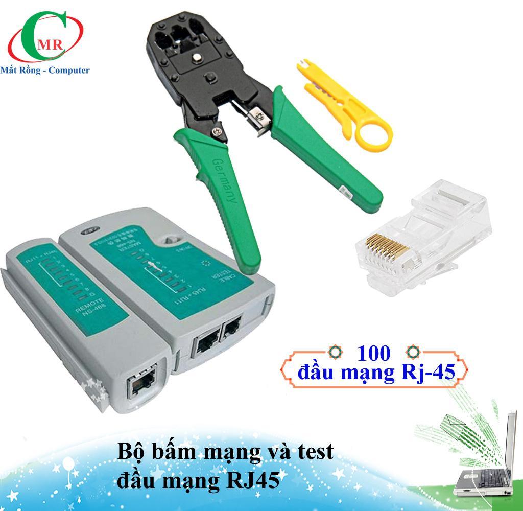 [Tặng 100 đầu Rj-45] Bộ Kìm bấm mạng, hộp test cable mạng RJ-45