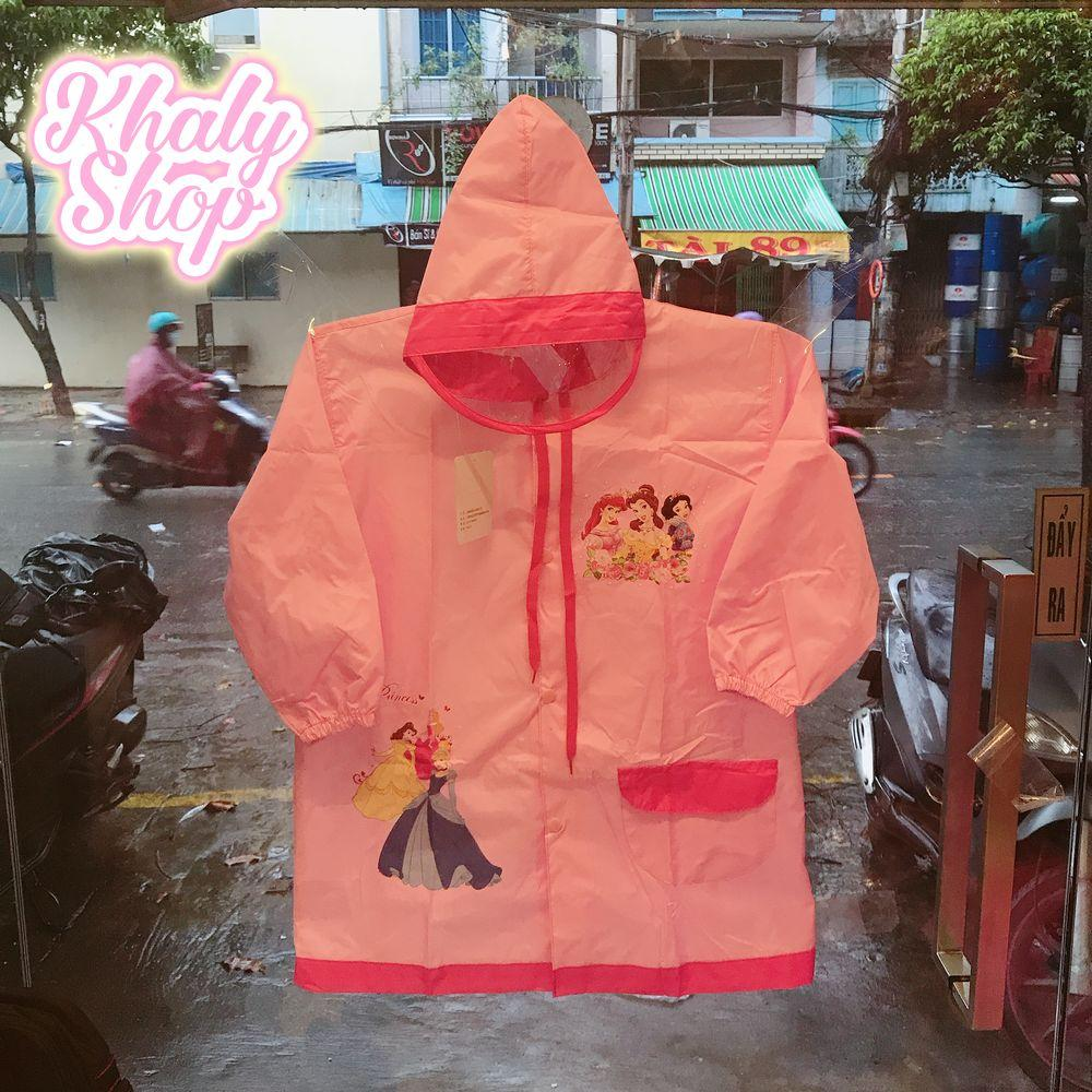 Áo mưa hình Princess công chúa Disney vải dù cao cấp màu hồng kèm túi đựng dành cho trẻ em có nhiều size (M-XL-XXXL) - 70PRIN201611