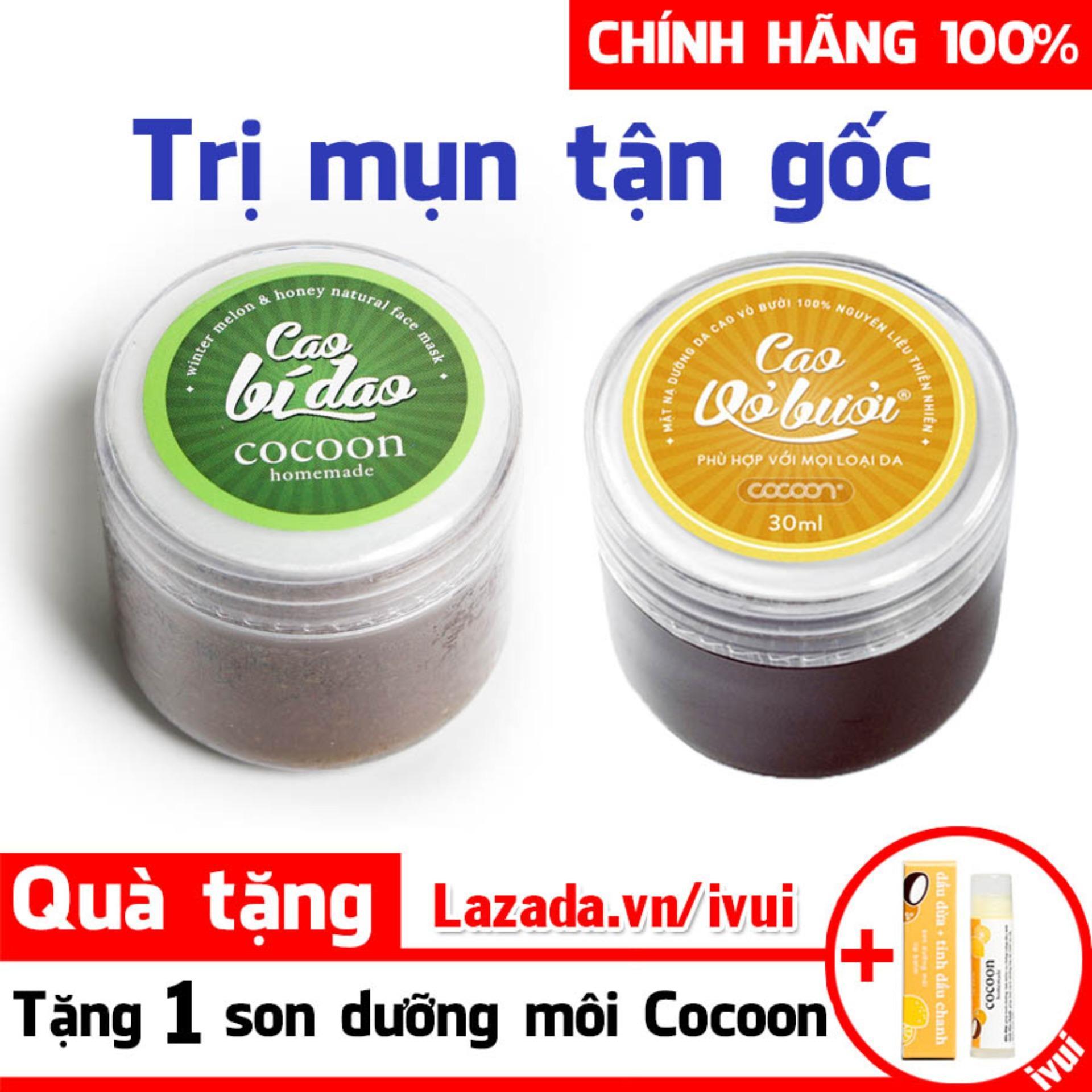 (TẶNG 1 SON DƯỠNG) Bộ Đôi Cao Bí Đao Và Cao Vỏ Bưởi Cocoon Trị Mụn, Dưỡng Da Chính Hãng (30mlx2) nhập khẩu