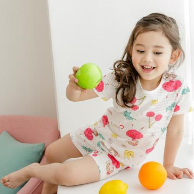 Nơi bán Bộ Unifriend Hàn Quốc cao cấp tay ngắn cho bé gái họa tiết cô gái Cherry