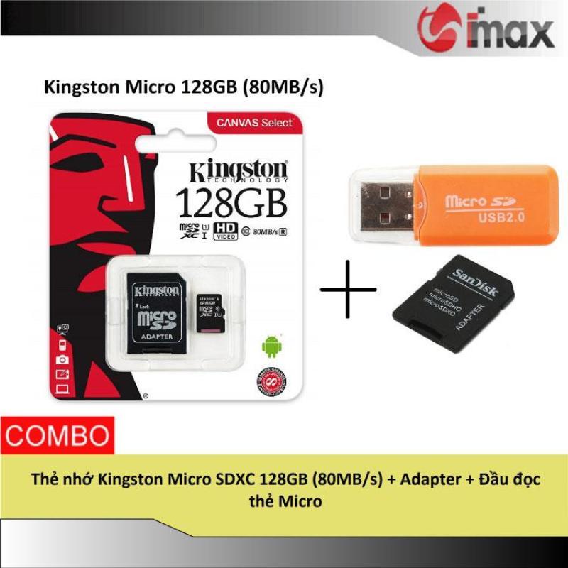 Thẻ nhớ Kingston Micro SDXC 128GB (80MB/s) + Adapter + Đầu đọc thẻ Micro
