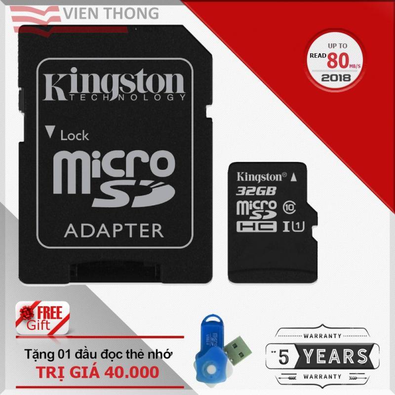 Bộ Thẻ nhớ 32GB Kingston tốc độ cao up to 80Mb/s Micro SDHC Class10 UHS1 và Adapter (Đen) + Tặng 1 đầu đọc thẻ nhớ micro PT