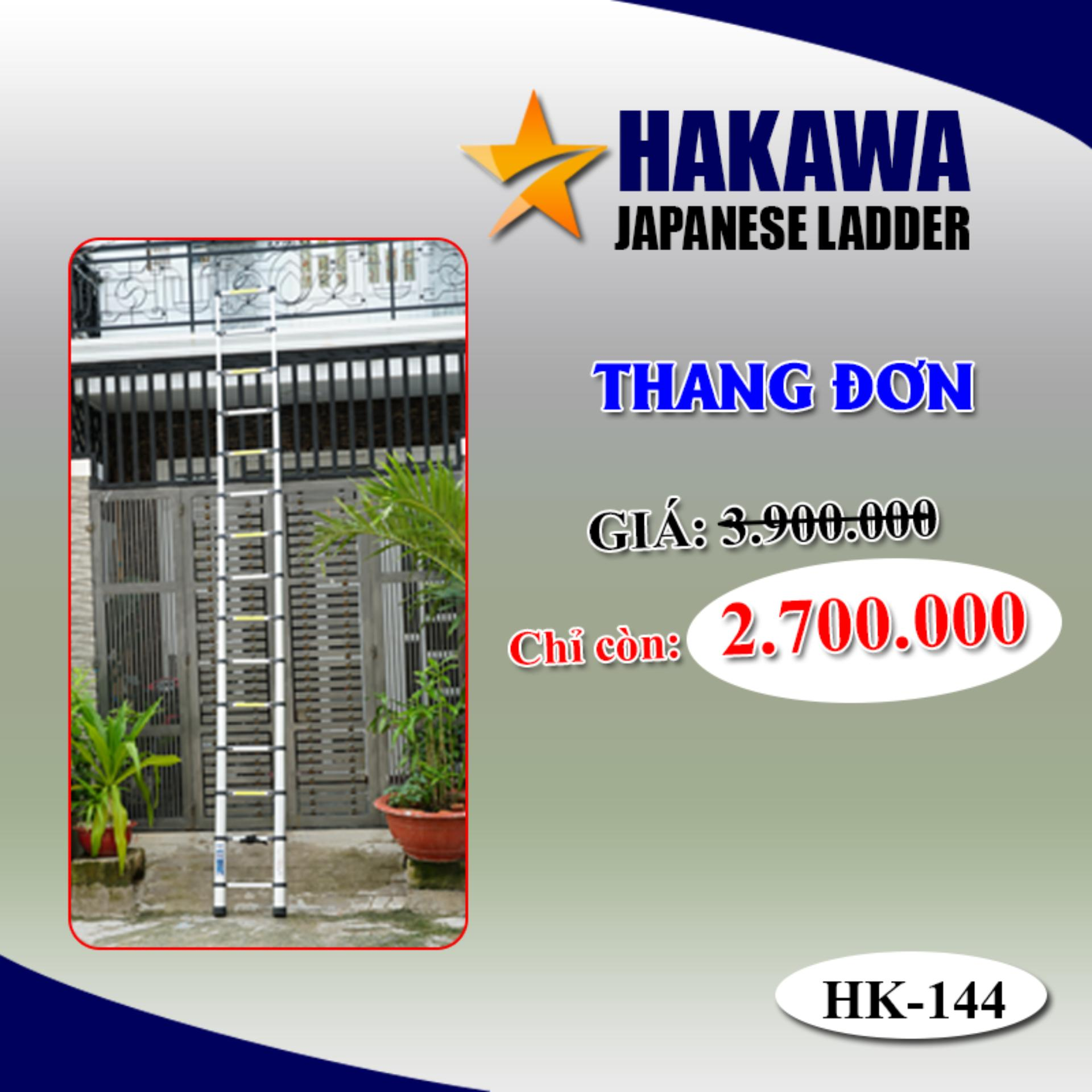 Hình ảnh [TRỢ GIÁ] Thang nhôm rút đơn HAKAWA HK144 - Hàng Nhập khẩu nhật bản , xếp gọn tiện lợi , dễ di chuyển