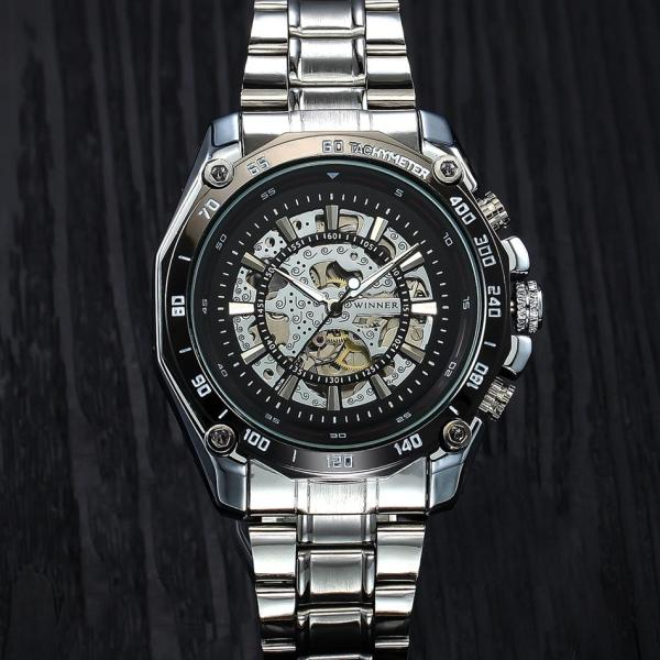 Đồng hồ nam cơ lộ máy dây thép không gỉ Winner DR.8