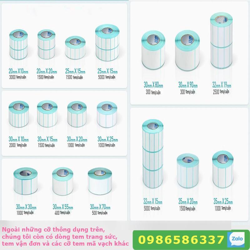 Mua Tem mã vạch in nhiệt không cần dùng mực cỡ 2x1 3x2  4x3 4x6 4x7 5x3, giấy nhãn decal thông tin dán lên sản phẩm