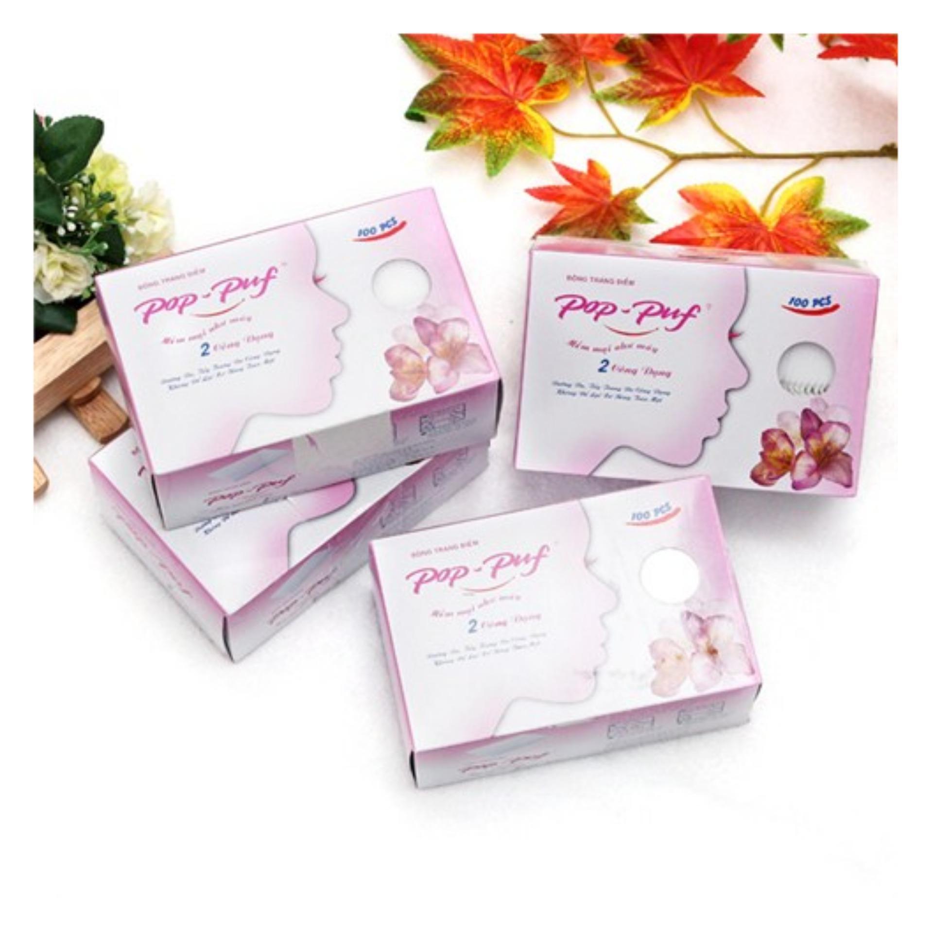 1 hộp Bông tẩy trang Pop-Puf 2 Công Dụng ( Trang điểm + tẩy trang) 100 Miếng / hộp