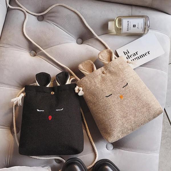 Túi Đeo Chéo Nữ Tai Thỏ, dùng đựng điện thoại, tiền bạc, đồ tiện ích, Có Hình Thật, Hàng Luôn Có Sẵn