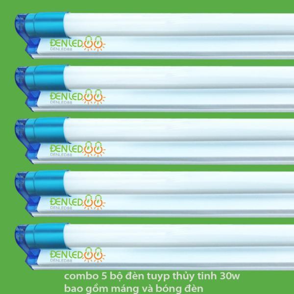 Bộ 5 Bóng đèn led Tuýp thủy tinh 30W 1,2m, ánh sáng trắng+ 5 Máng đèn led tuýp 1.2m