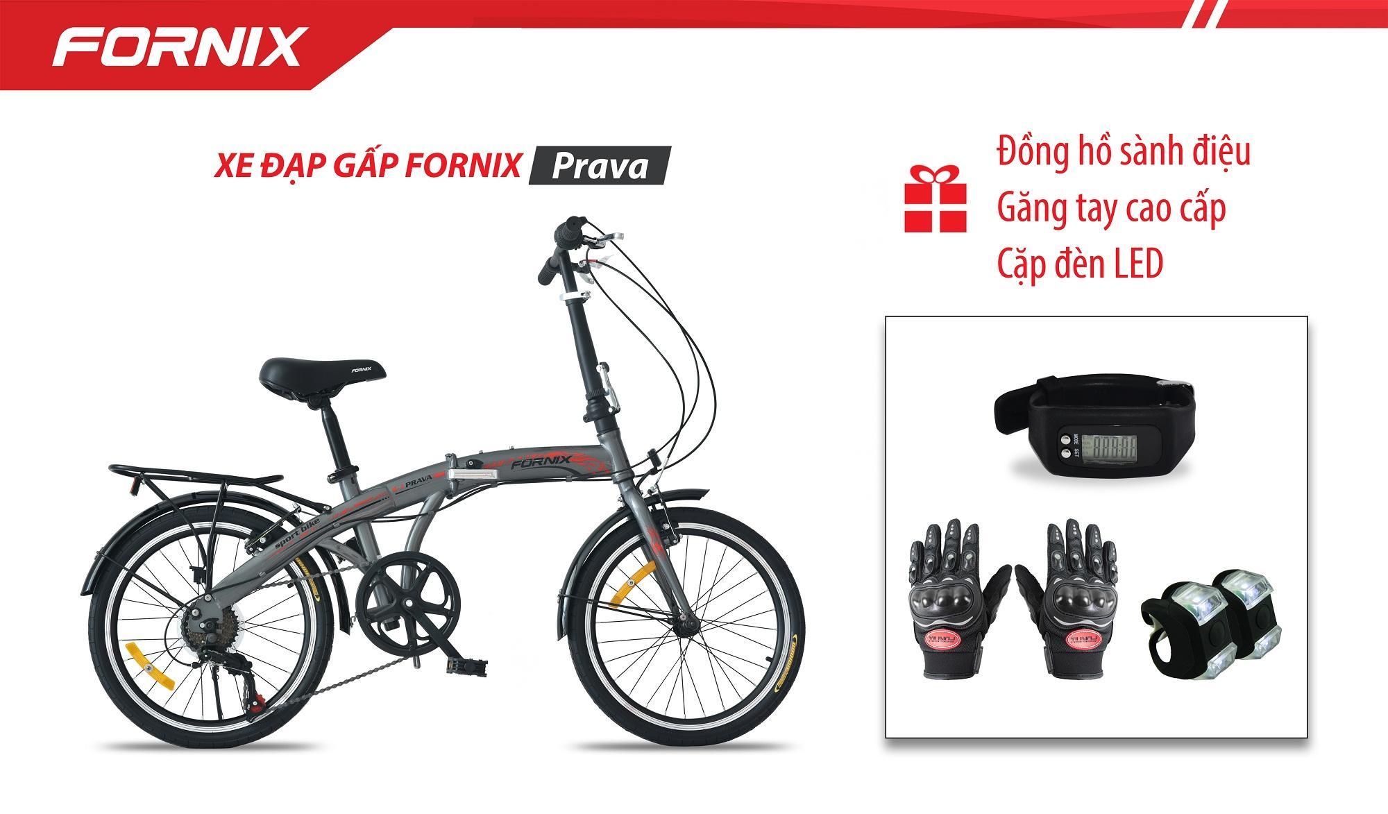 Xe đạp gấp hiệu FORNIX, mã PRAVA + (Gift) Cặp đèn LED, Đồng Hồ Đo Bước Đi, Găng tay