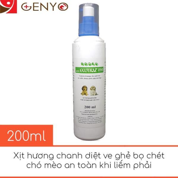 Chai xịt hương chanh diệt ve ghẻ chó mèo an toàn - Ecotraz 200ml